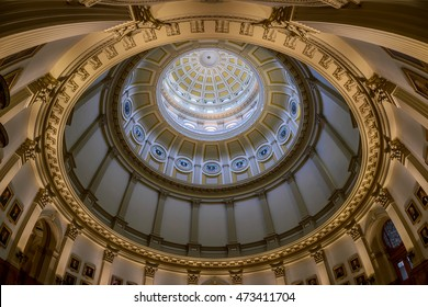 DENVER, COLORADO - JULY 18: Inner dome and presidential portraits in the Colorado State Capitol building on July 18, 2016 in Denver, Colorado