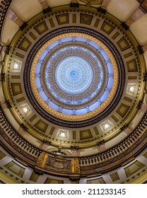 DENVER, COLORADO - JULY 24: Inner dome from the rotunda floor of the Colorado State Capitol building on July 24, 2014 in Denver, Colorado