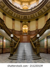 DENVER, COLORADO - JULY 24: Staircase in the rotunda of the Colorado State Capitol building on July 24, 2014 in Denver, Colorado