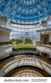 DENVER, COLORADO - JULY 24: Colorado State Capitol building viewed from inside the Ralph L. Carr Colorado Judicial Center on July 24, 2014 in Denver, Colorado