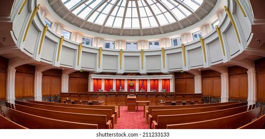 DENVER, COLORADO - JULY 24: Colorado Supreme Courtroom in the Ralph L. Carr Colorado Judicial Center July 24, 2014 in Denver, Colorado