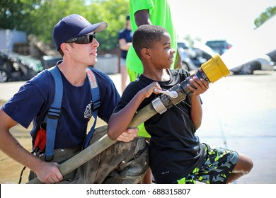 Denver, Colorado - July 28, 2017: Denver Fire Department launches Summer Young Adult Career Exploration Camp.  To see similar photos, please check my CHILDREN folder