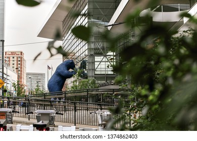 """Denver, Colorado - June 21st, 2013:  Iconic blue bear sculpture, """"I see what you mean"""" at the Colorado Convention Center"""