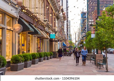 DENVER, COLORADO - MAY 1, 2018:  Street scene along historic Larimer Square in downtown Denver with restaurants and shops in view.