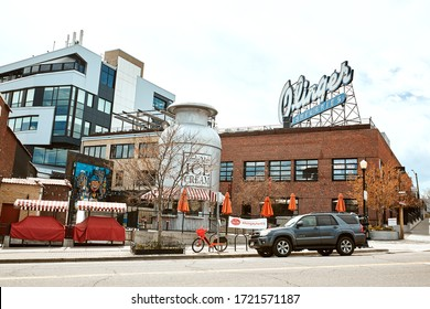 Denver, Colorado - May 1st, 2020:  Exterior of Little Man Ice Cream in the LoHi neighborhood of Downtown Denver. Lower Highlands