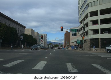 DENVER, COLORADO - OCTOBER 1: Busy street and crossing on October 1, 2009 in Denver, Colorado. The city is the capital and most populous municipality of the state.