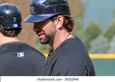DENVER, COLORADO - OCTOBER 12: Todd Helton before game 4 of the Colorado Rockies, Philadelphia Phillies National League Division Series on October 12, 2009 in Denver Colorado.