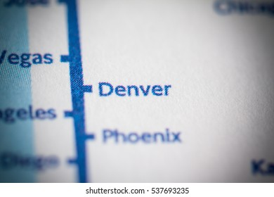 Denver, Colorado on a geographical map.