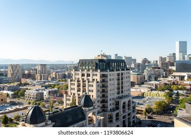 DENVER, COLORADO - SEPTEMBER 17, 2018: Aerial view of downtown Denver from Capitol Hill showing skyscrapers and luxury apartment buildings.