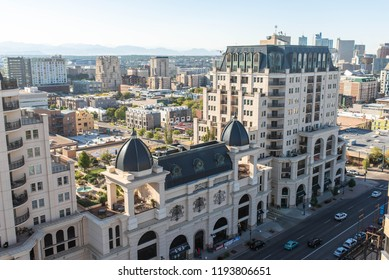 DENVER, COLORADO - SEPTEMBER 17, 2018: Luxury apartment buildings and housing in Denver, near Capitol Hill.
