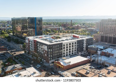 DENVER, COLORADO - SEPTEMBER 17, 2018: Commercial office buildings and corporate businesses in downtown Denver, Colorado.