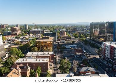 DENVER, COLORADO - SEPTEMBER 17, 2018: Office buildings and housing in suburban edge of Denver, Colorado near Capitol Hill.