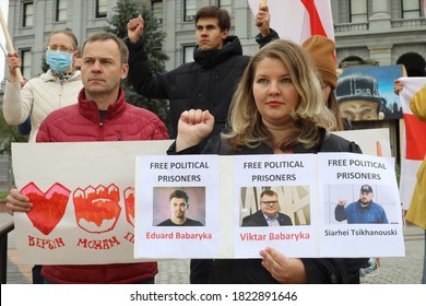DENVER, COLORADO - SEPTEMBER 27, 2020: People support peaceful protesters in Belarus after the presidential elections allegedly stolen by Mr. Alexander Lukashenko
