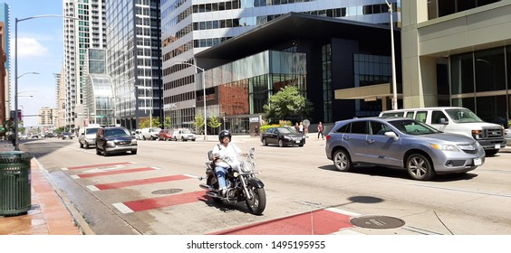 Denver, Colorado - September 3, 2019: Traffic on Broadway. Broadway was named by developer Henry C. Brown after New York City's Broadway. It is the demarcation between east and west avenues in Denver