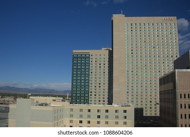 DENVER, COLORADO – SEPTEMBER 30: Hotels and other architectural features on September 30, 2009 in Denver, Colorado. The city is the capital and most populous municipality of the state.