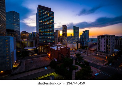 Denver Colorado skyline cityscape nightscape blue hour sunset modern skyscrapers and urban square