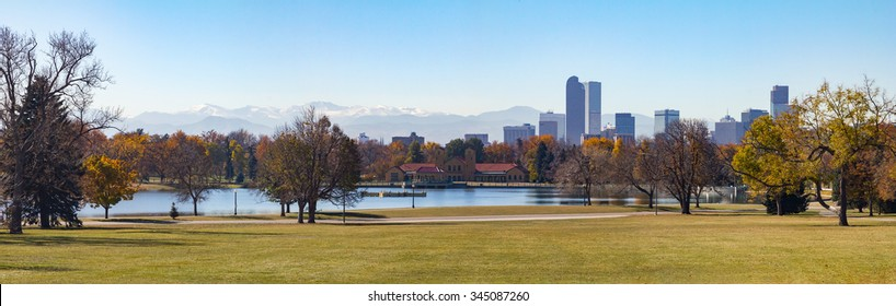 Denver, Colorado Skyline and Front Range Mountains Panoramic Landscape seen from City Park