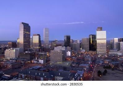 Denver, Colorado skyline at sunrise