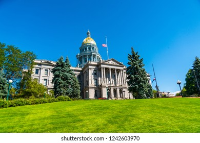 Denver , Colorado State Capitol building with blue sky and perfect morning sunshine in the gorgeous mile high city