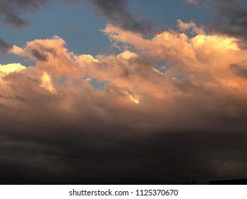 Denver, Colorado / United States - June 28, 2018:  Majestic clouds over Denver the mile high city