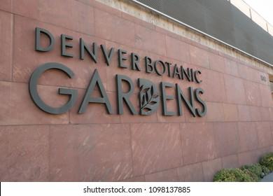 Denver, Colorado, USA - 11 November 2017:  Entrance sign to the Denver Botanic Gardens in Denver Colorado, brass letters on red brick.