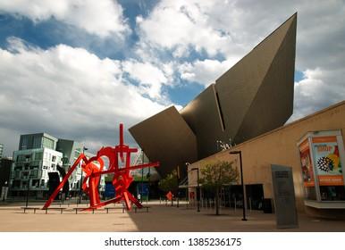 Denver, Colorado, USA - 2019: Exterior view of the Frederic C. Hamilton building, part of the Denver Art Museum.
