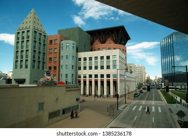 Denver, Colorado, USA - 2019: Exterior view of the Denver Central Library, part of the public library system of the city.