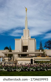 Denver, Colorado, USA, 5/12/2020, front of the church of Jesus Christ of Latter Day Saints Denver temple with golden angel Moroni atop spire