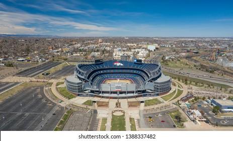Denver, Colorado / USA - April 7th 2019: Aerial view of Mile High Stadium