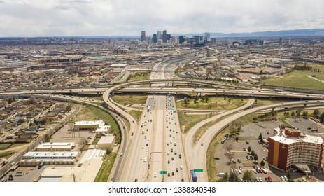Denver, Colorado / USA - April 7th 2019: Aerial view of Denver Colorado and I-25