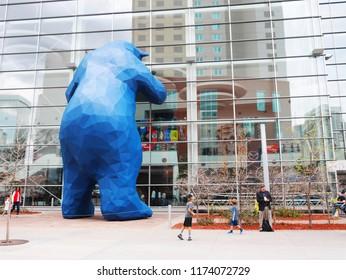 DENVER, COLORADO, USA - APRIL 8, 2017: The Big Blue Bear, an iconic symbol of Denver, at the Colorado Convention Center