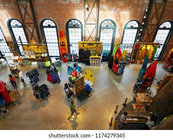 DENVER, COLORADO, USA - APRIL 8, 2017: Inside of the REI Denver flagship store which is a premier outdoor gear and sporting goods store serving outdoor enthusiasts in Denver