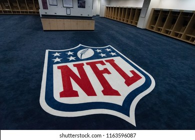 Denver Colorado USA August 18,2018. The NFL logo is displayed in the visitors locker room at Mile high Stadium in Denver Colorado Home of the Denver Broncos