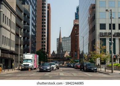 Denver, Colorado, USA - August 26th, 2020: Street view in Denver. Brown Palace Hotel and Spa on a background