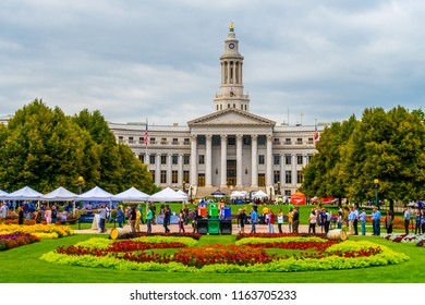 Denver Colorado USA August July 16,2018 the historic Denver Civic Center in Downtown Denver hosting a Civic event almost the beautiful gardens.