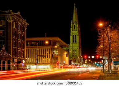Denver, Colorado, USA - December 09, 2015: Winter night street view of Cathedral Basilica of Immaculate Conception, the home of Archdiocese of Denver of Roman Catholic Church, on East Colfax Avenue.