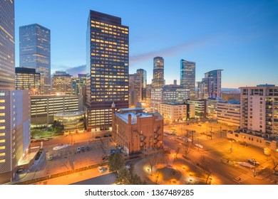 Denver, Colorado, USA downtown cityscape at twilight.