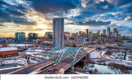 Denver, Colorado, USA Downtown Skyline Aerial.