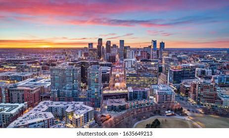 Denver, Colorado, USA Drone Aerial Skyline.