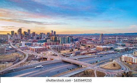 Denver, Colorado, USA Drone Skyline Aerial Panorama.