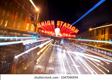 Denver, Colorado / USA - January 26, 2017: Hustle and bustle in Denver, Colorado during evening rush hour outside Mile High City icon Union Station.