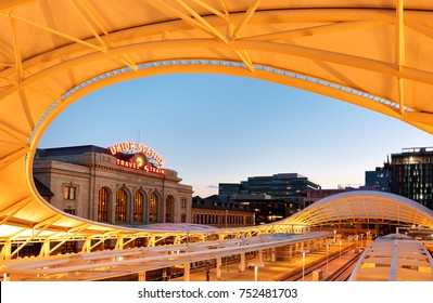 Denver, Colorado, USA - July 17, 2017: Denver Union Station at Sunset. Denver Union Station is the main railway station and central transportation hub in Denver, Colorado