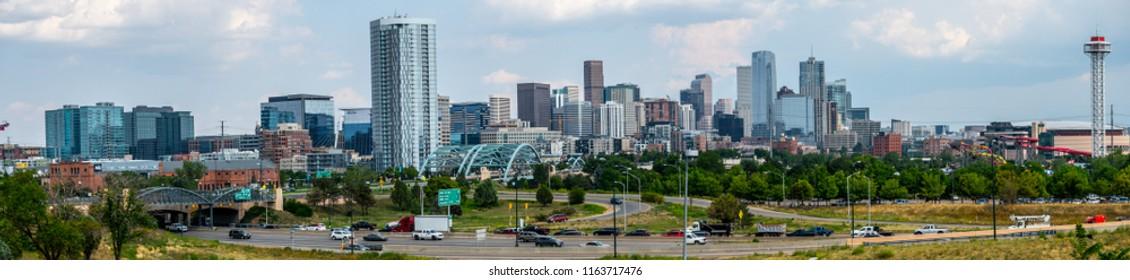 Denver Colorado USA July22,2018. A panorama of the Downtown Denver skyline.