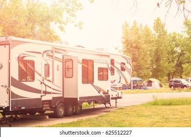 Denver, Colorado, USA - June 20, 2014. RV camping at Cherry Creek State Park in Denver, Colorado.