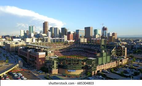 Denver, Colorado, USA: May 9th, 2017  Aerial Drone View of Denver Colorado City Skyline