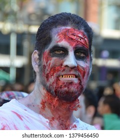 Denver, Colorado, USA. Oct, 19, 2013. People dressed for the annual zombie crawl on the 16th street mall.