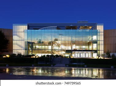 Denver Colorado, USA - September 7, 2016: The Denver Museum of Nature & Science after sunset. The museum is a municipal natural history and science museum in Denver, Colorado.