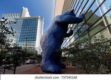 Denver Colorado, USA - September 8, 2016: Big Blue Bear at Colorado Convention Center on a sunny afternoon. The big blue bear has become an iconic symbol of Denver,