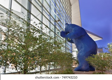 Denver Colorado, USA - September 8, 2016: Big Blue Bear at Colorado Convention Center before sunrise. The big blue bear has become an iconic symbol of Denver,