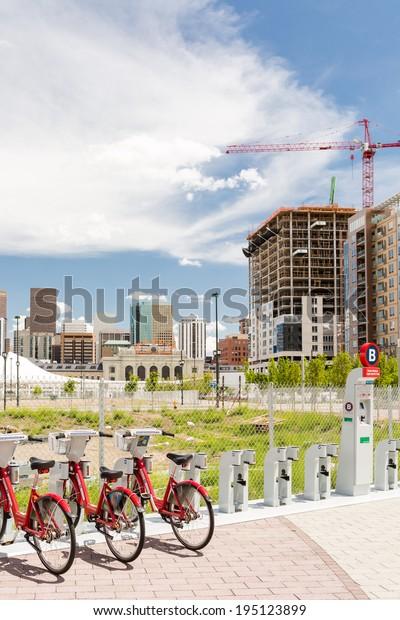 Denver, Colorado/ USA-26 May, 2014: Light rail station near Union Station in Denver.